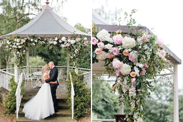 Amoureuse couple robe de mariée bohème chic robe mariage champetre kiosque