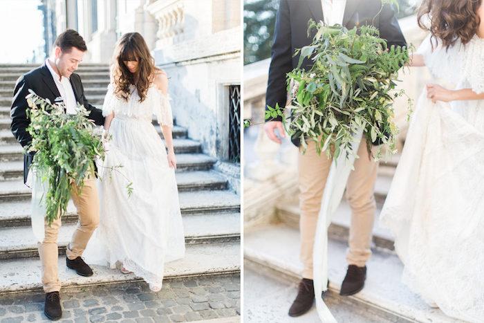 Belle robe champetre chic robe de mariée simple chic vintage longue robe top épaules dénudées
