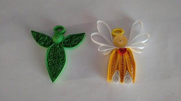 anges en papier, que faire avec du papier, designs faciles avec papier jeune et vert