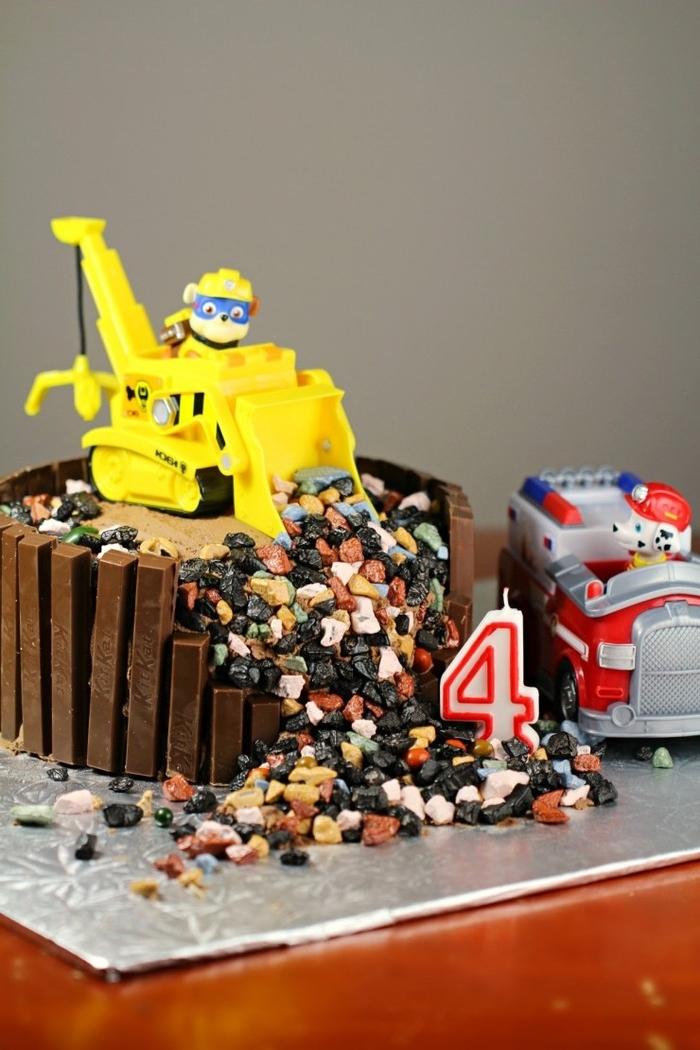 idée pour un gateau d'anniversaire chantier de construction sur le thème la pat patrouille