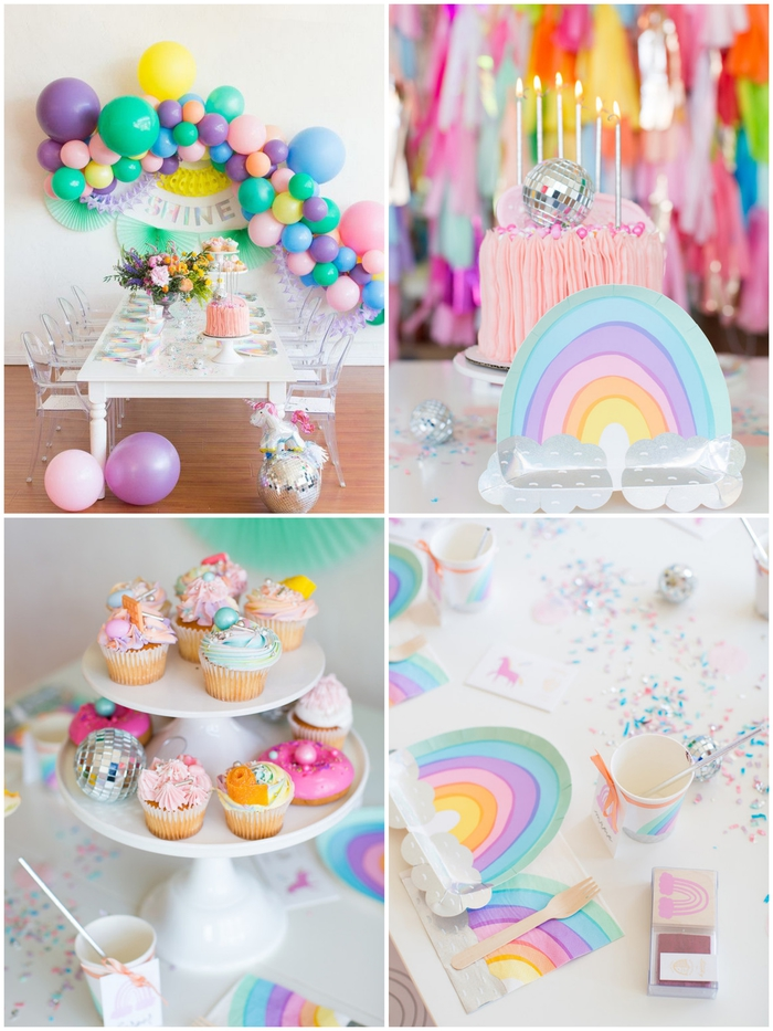 anniversaire licorne avec une décoration pastel et multicolore de la table de fête et du buffet sucré