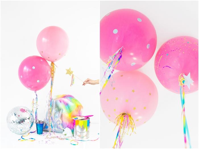 des ballons confettis personnalisés en nuances de rose à queue multicolore pour une ambiance de fête girly qui fait rêver