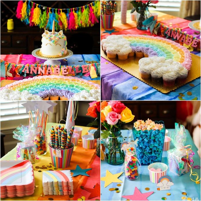 déco de table et de buffet d'anniversaire theme licorne et arc-en-ciel en couleurs vitaminées