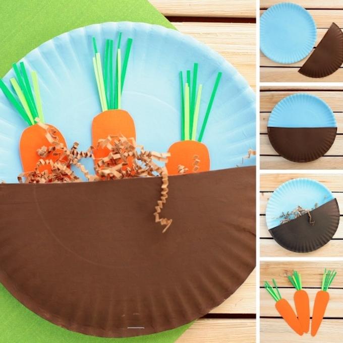 bricolage paques avec assiette en papier avec motif carotte en papier inséré entre une assiette et demi assiette, vermicelles imitation herbe