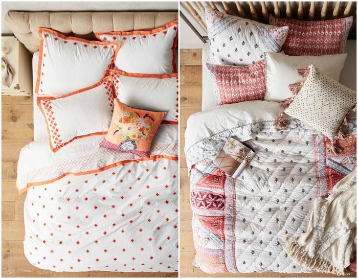idées pour décorer sa chambre à coucher avec un petit budget en renouvelant la parure de lit, linge de lit aux motifs imprimés qui dynamise la déco de la pièce