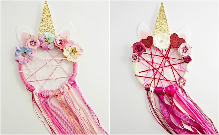modele d attrape reve enfant deco licorne, chutes de laine et de ruban rose, déco fleurs artificielles et corne doré