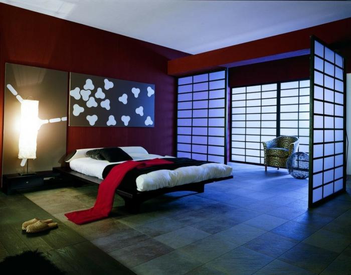 chambre japonaise, lit plateforme, couleur de peinture tandance, cloisons japonaises