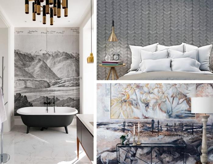 exemple d'intérieur stylé avec papier peint original de couleur gris, aménagement salon avec meubles blanc et noir