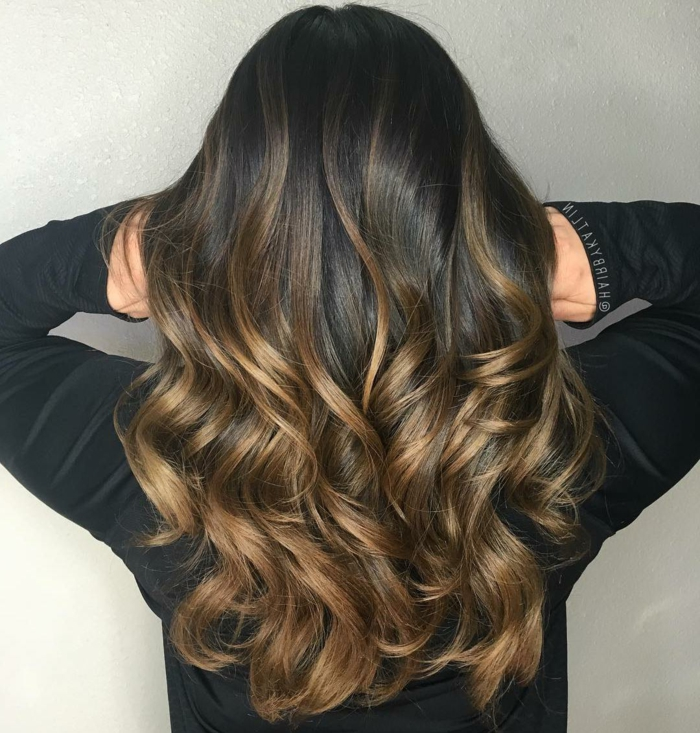 couleur noisette sur cheveux noirs, balayage cheveux chatain magnifique