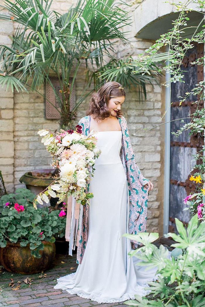 Féminine robe mariée bohème chic robe de mariée simple longue robe fluide kimono bohème en top
