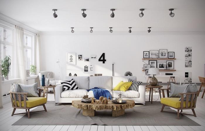 Style scandinave dans la deco nordique simple et stylée salon déco nordique en blanc et jaune