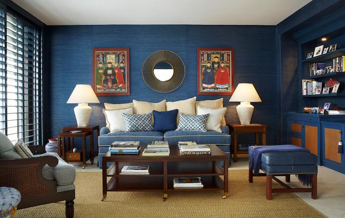 papier peint bleu canard pour salon, mur de salon bleu pétrole, décoration ethnique asiatique