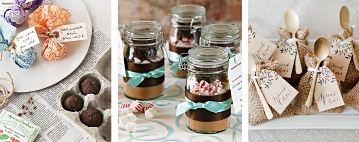 gobelet personnalisé mariage ou bocal remplis de sucreries et bonbons pour les invités au mariage, modèle de petites cuillères de bois