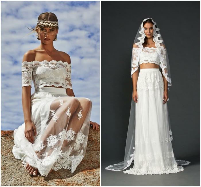 robe style boho chic, robe de mariée boheme pas cher, robe longue avec une voile longue