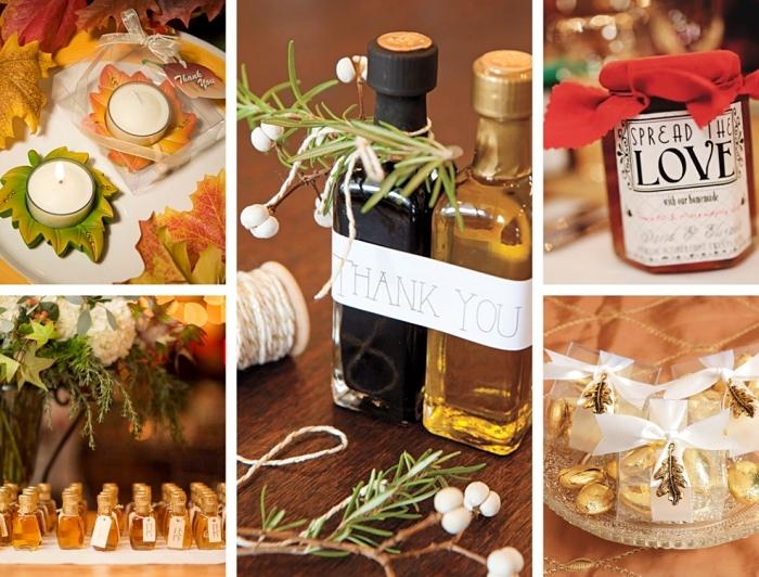 idée cadeau mariage pas cher, modèle de bougies en formes de feuilles verte et orange, bonbons dorés avec emballage ruban blanc