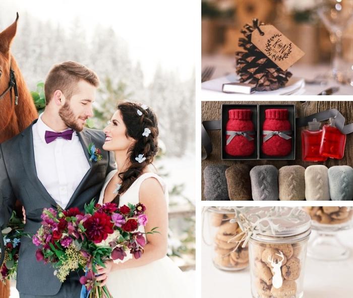petit cadeau original pour les invités de mariage, couple de nouveaux mariés, modèle de chaussettes en crochet rouge et gris