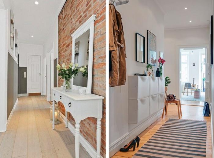 exemple d'aménagement couloir long et étroit aux couleurs clairs avec pan en briques rouges et meubles à design vintage blancs