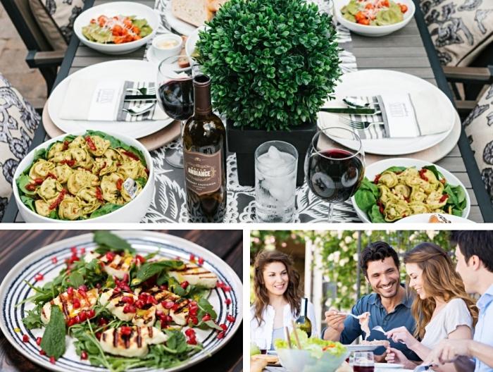 poulet rôti aux épinards et grenades pour une idée repas simple, pasta au fromage herbes et légumes frais