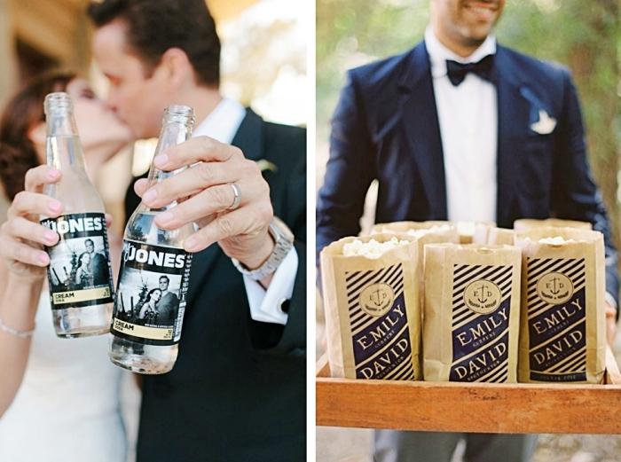 nouveaux mariés avec bouteilles personnalisées décorées d'étiquette à design photo et prénoms, cadeau invité avec produits alimentaires