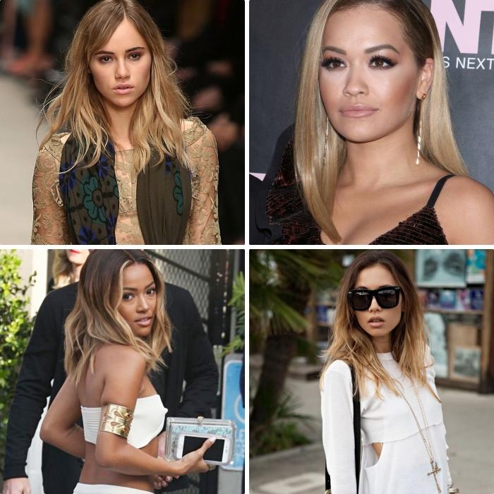 comment porter la couleur ombré sur cheveux longs ou mi-longs, balayage naturel sur cheveux marron avec mèches blondes