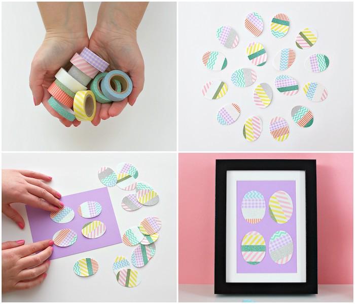exemple de deco paques originale en cadre décoratif avec des oeufs en washi tape coloré collés sur un papier violet