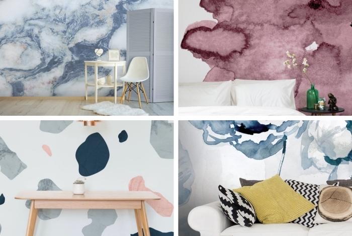 modèles de tapisserie murale blanc à design marbre terrazo ou ombré, aménagement de salon avec meubles de bois