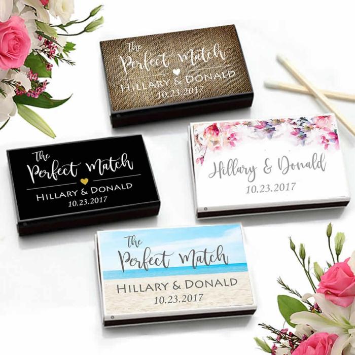 modèle de boite allumette personnalisée à design varié avec prénoms de nouveaux mariés et date de mariage