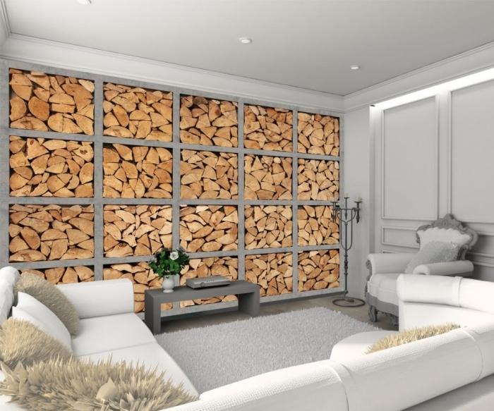 idée décoration d'intérieur chaleureuse avec meubles blancs et revêtement mural en papier peint imitation bois