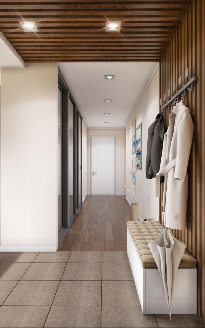 comment aménager un couloir long et étroit avec peinture murale de nuance beige et revêtement pan et plafond de bois marron