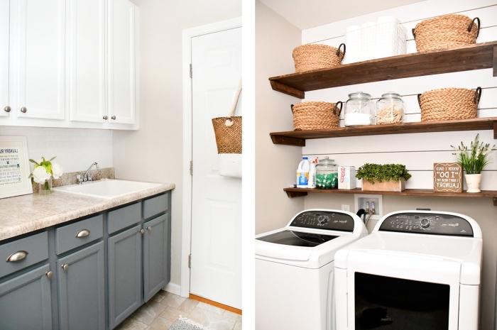 étagères de bois foncé avec panier et objets tout usage combinés avec meuble buanderie de couleur gris aux poignées métalliques