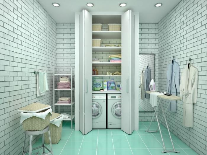 idée amenagement cellier avec carrelage de couleur vert pastel et sol aux dalles vertes, placard avec étagères et machines à laver