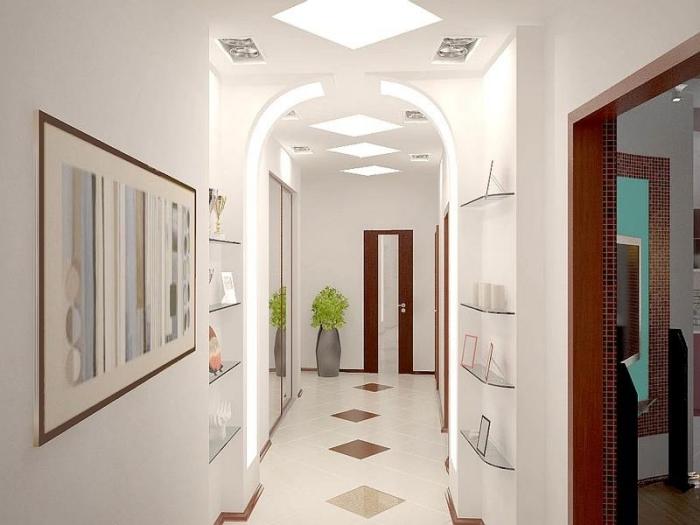 idée déco de couloir et entrée moderne aux murs blancs avec arc, modèle de carrelage à design blanc et marron