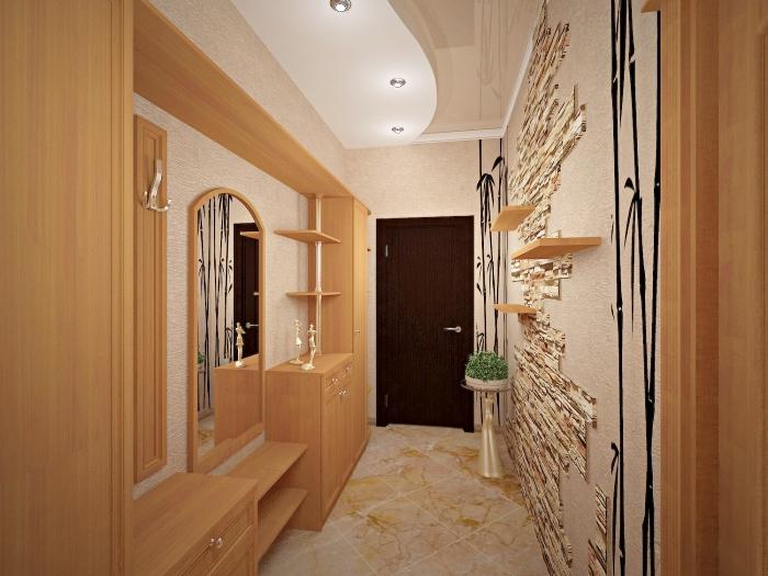 exemple de papier peint couloir à design beige avec décoration pan de carrelage à imitation brique et étagères de bois