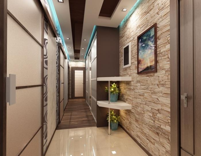 exemple de papier peint couloir à imitation pierre avec peinture murale marron, modèle de plafond suspendu à design marron et blanc avec éclairage led et néon bleu