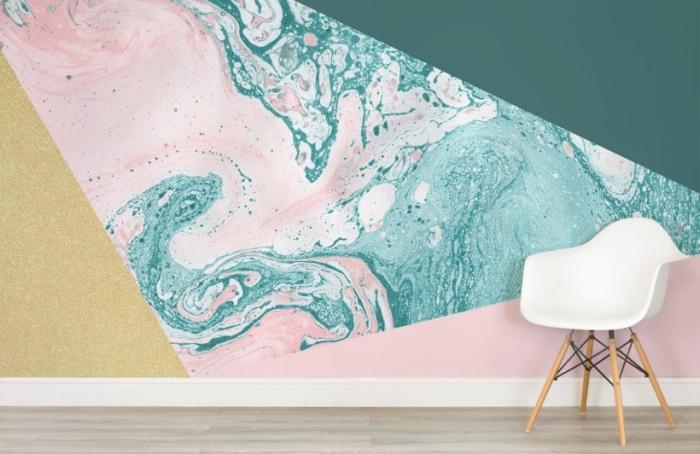 modèle de papier peint tendance de couleurs pastel et à design marbré pour une déco de salon moderne