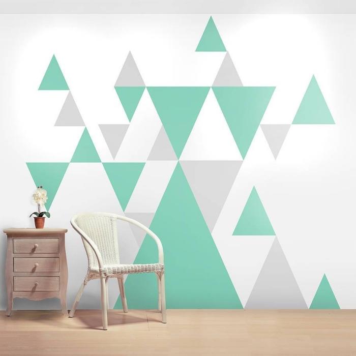 idée décoration murale avec papier peint graphique de couleurs blanc vert et gris, déco simple en style minimaliste avec meubles de bois