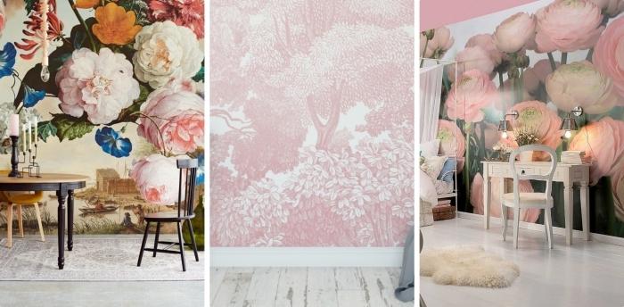 exemple de papier peint fleuri en rose et beige, déco salle à manger avec table ronde et chaise à design noir et bois clair