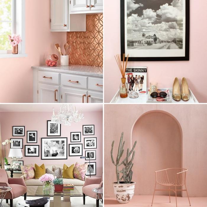 idée quelle couleur associer au gris, cuisine aux murs rose pale aménagée avec meubles blancs et crédence à design cuivré