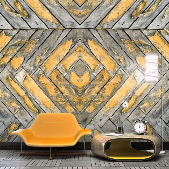 aménagement de salon en gris et jaune avec meubles moderne et papier peint à design graphique imitation bois
