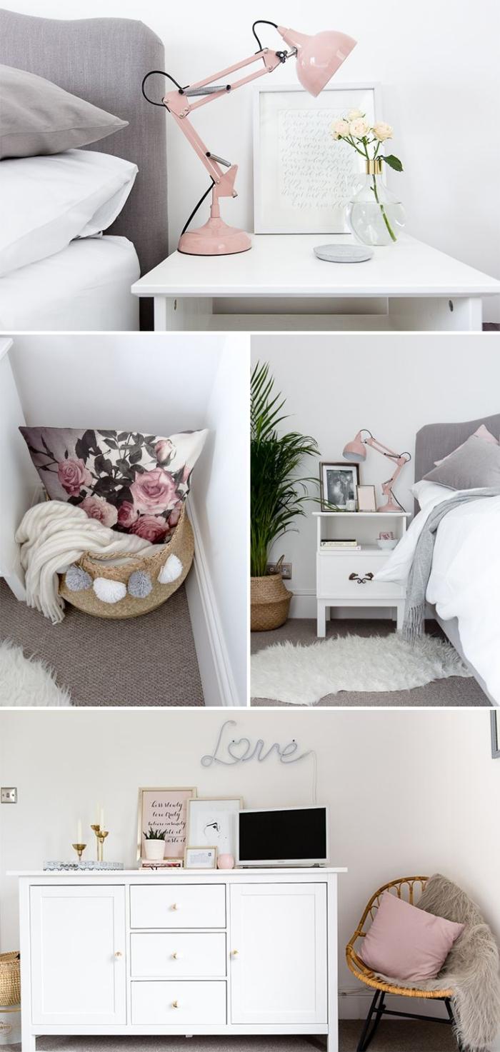 chambre rose pale et gris, aménagement avec meubles de bois blanc, panier en paille avec pompons et plaid blanc