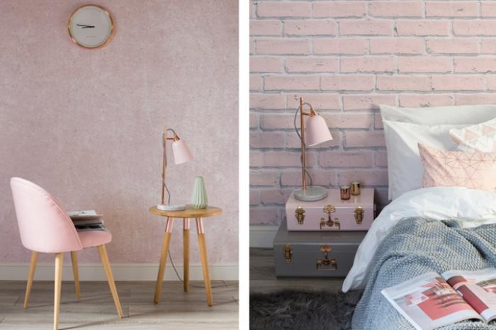 idée déco de la chambre rose et gris avec meubles de bois, modèle de papier peint rose pastel combiné avec horloge blanc et cuivre