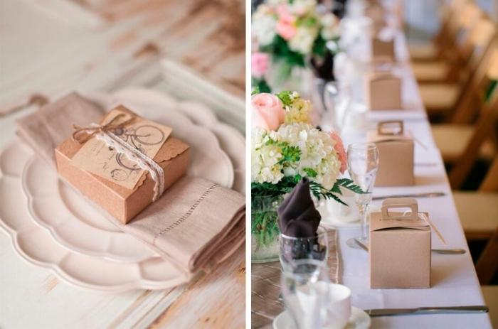 surprise pour mariage dans une boîte de carton avec emballage en papier recyclé et étiquette personnalisée