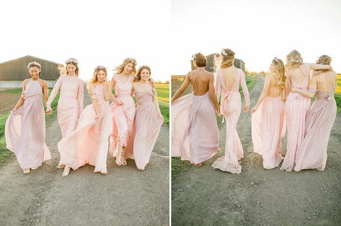 Bohème robe de mariage civil chic robe de mariée simple les amies robe de mariage rose pale