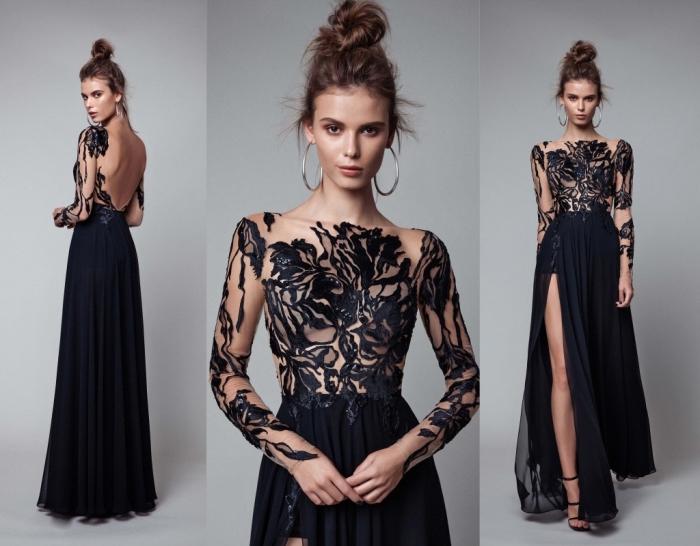 modèle fantastique de robe officielle noire longue avec volants et décoration haut transparent avec feuilles noires