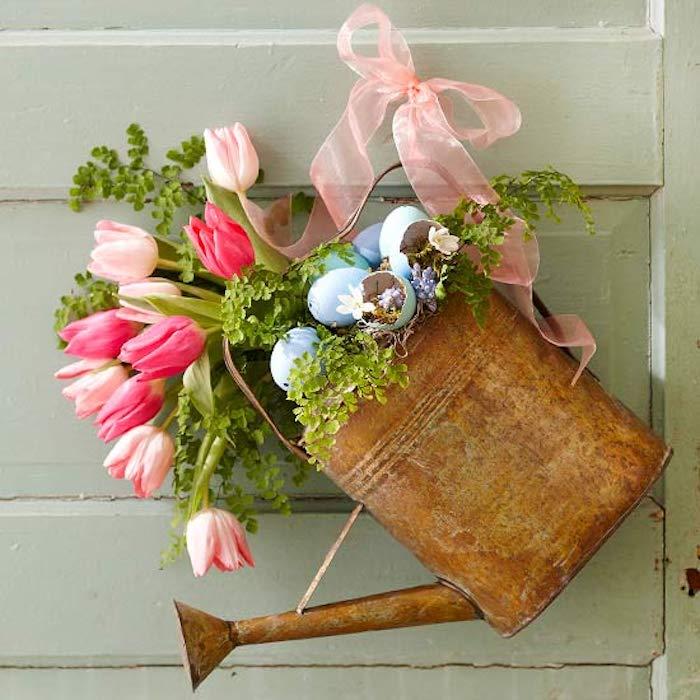 Activités manuelles paques deco de paques idée comment faire originale vase de fleurs tulips pour paques