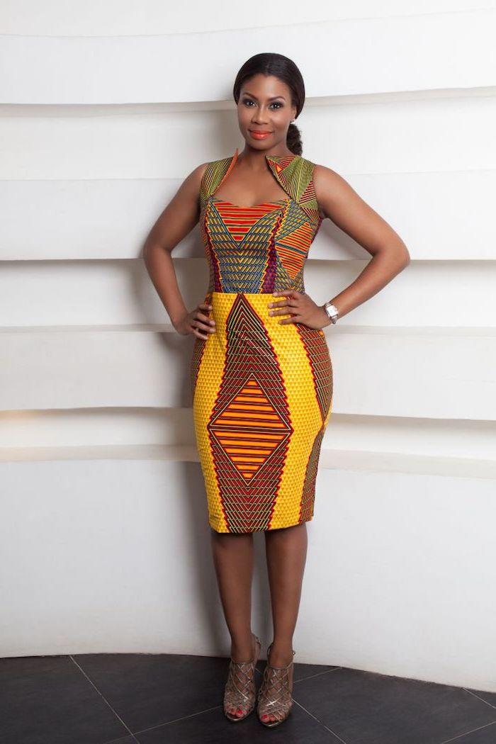 Femme robe en pagne africain chic robe africaine stylée femme tenue robe en pagne stylée femme