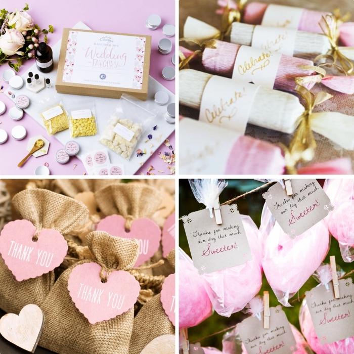 petit cadeau original pour les invités au mariage, cookies et barbe de papas avec emballage en beige et rose
