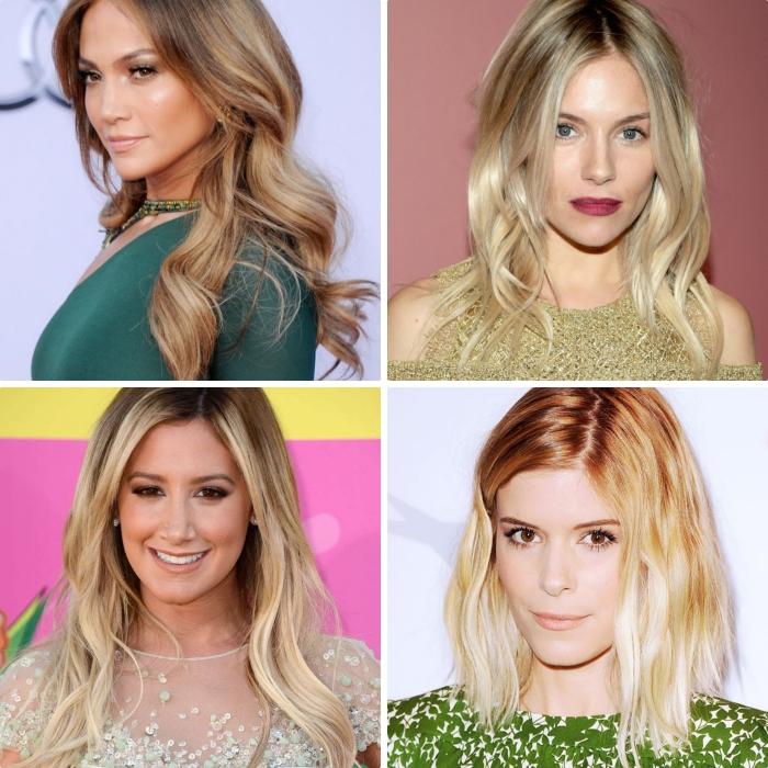 exemples de coiffures pour cheveux mi longs ou longs, coloration ombré de Jennifer Lopez, modèle de robe en paillette doré