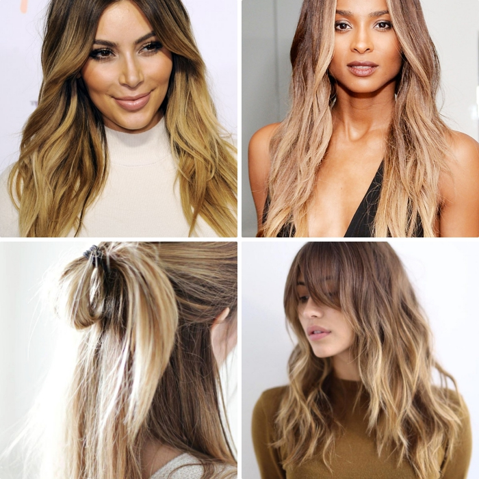 exemple de coloration tie and dye brune sur cheveux longs, coupe de cheveux en couches avec frange longue et boucles