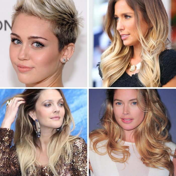 exemples de coiffures célébrités à ombrage cheveux longs ou courts, Miley Cyrus aux cheveux rasés avec volume sur le haut